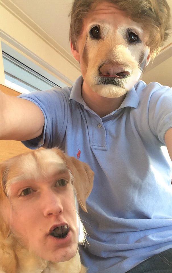 faceswap- garçon avec son chien